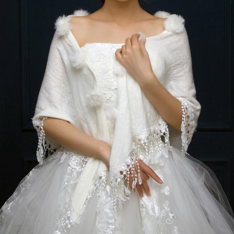 Elegant Bridal Wraps Shawls Winter Triangular Wedding Jackets White Women Pompom Tassel Shrug