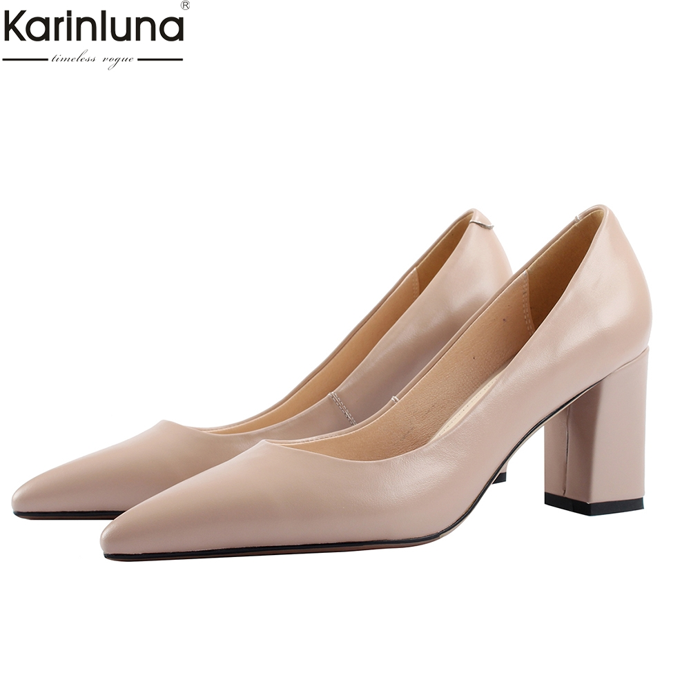 Karinluna 2019 elegant quality pointed toe soft genuine leather Woman Shoes high Heels Party shoes woman pumpsKarinluna 2019 elegant quality pointed toe soft genuine leather Woman Shoes high Heels Party shoes woman pumps