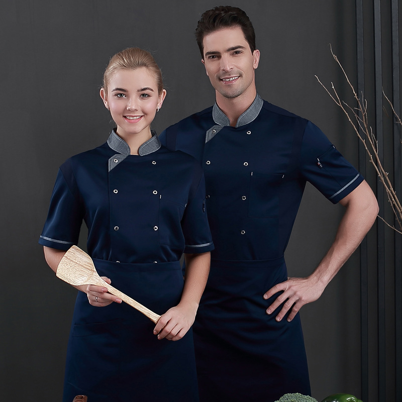Chef Uniforms Food Service Restaurant Kitchen Workwear Women Men Short Sleeve Double Breasted Catering Jackets Tooling Uniform image
