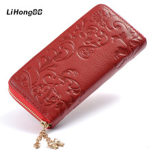 New Fashion Women Long Purse Genuine Leather Clutch Bag Flower Embossing Female Zipper Wallet Money Clips Woman Cards Purse Red