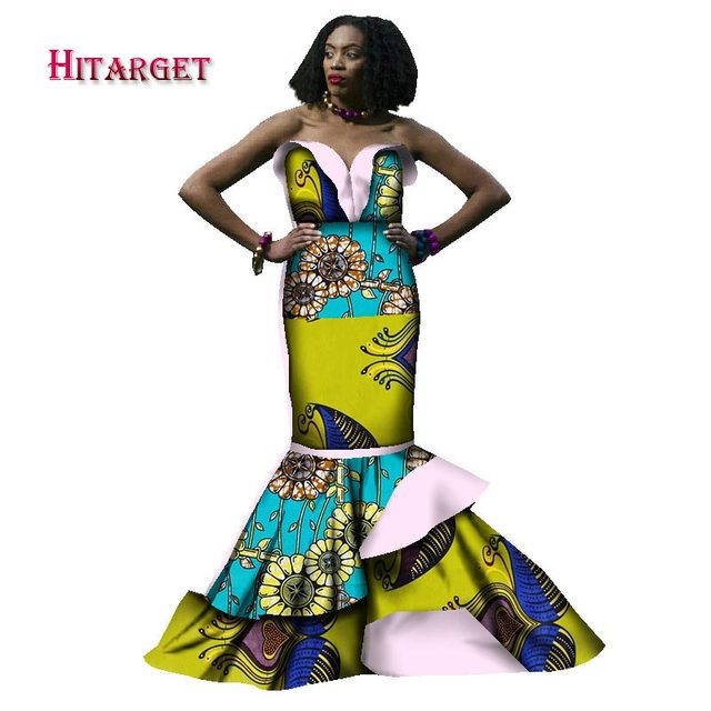 2018 african dresses for women bazin riche style femme african clothes graceful lady print wax plus size party long dress WY1782