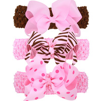 South Korea Hot DIY Kids Ribbon Polka Dot Bows Headband Crochet Hairbands Girls Hair Accessory For Gift with box 3pcs set