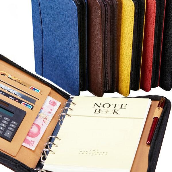 Manager Spiral PU Leather Zipper Notebook And Journals Filofax Agenda Calculator Pen Holder Portfolio Organizer Planner B5 A5 A6