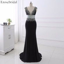 Sexy Black  Mermaid Prom Dress V- Neck Beading Sequins Sweep Train Formal Evening Party robe de soire YY0015