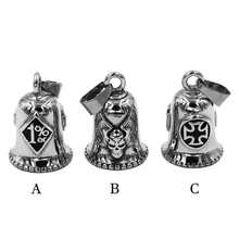 One Percent 1% ER Skull Biker Bell Pendant Stainless Steel Wings Skull Army Cross Pendant P0506 (Has steel ball, no bell sound)(China)
