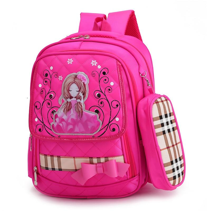 Детская Школьные ранцы для Обувь для девочек ортопедический рюкзак школьный Дети основной принцессы школьный рюкзак детский ранец Mochila ...
