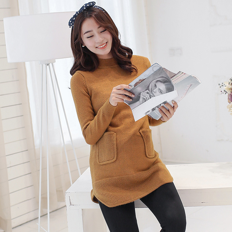 Korean Soft Warm Knitted Maternity Sweater Long Clothes For Pregnant Women Sweater Y873 snowflake long sweater