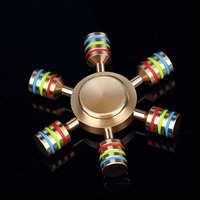 JX-6 Rainbow Fidget Spinner Metal Finger Spinner Hand Spinner Brass For Autism Adult Anti Relieve Stress Toy Spiner