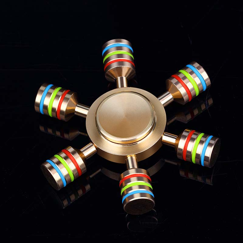 JX 6 Rainbow Fidget Spinner Metal Finger Spinner Hand Spinner Brass For Autism Adult Anti Relieve