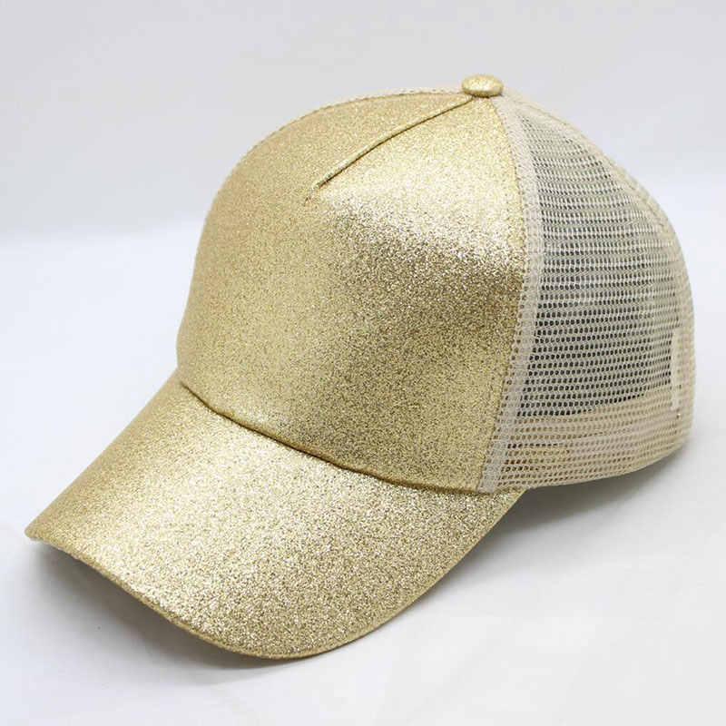 438de486 ... Women's Hat Glitter High Ponytail Hole Cap 5 Panel Mesh Trucker  Baseball Cap Gold Silver White ...