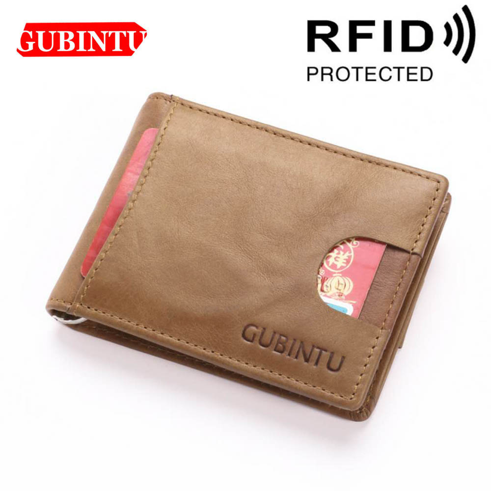 GUBINTU <font><b>Genuine</b></font> <font><b>Leather</b></font> <font><b>Short</b></font> <font><b>Men</b></font> <font><b>Wallet</b></font> ID Card Holder Brown Black Card <font><b>Wallet</b></font> Casual High Quality RFID Brand Purse For <font><b>Men</b></font> image