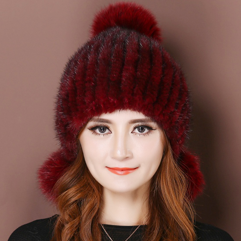 6adb2e2ebb6 Elastic real mink fur women winter caps 11 colors weave soft balls solid  casual warm ear protect female hats caps ladies beanies-in Skullies    Beanies from ...