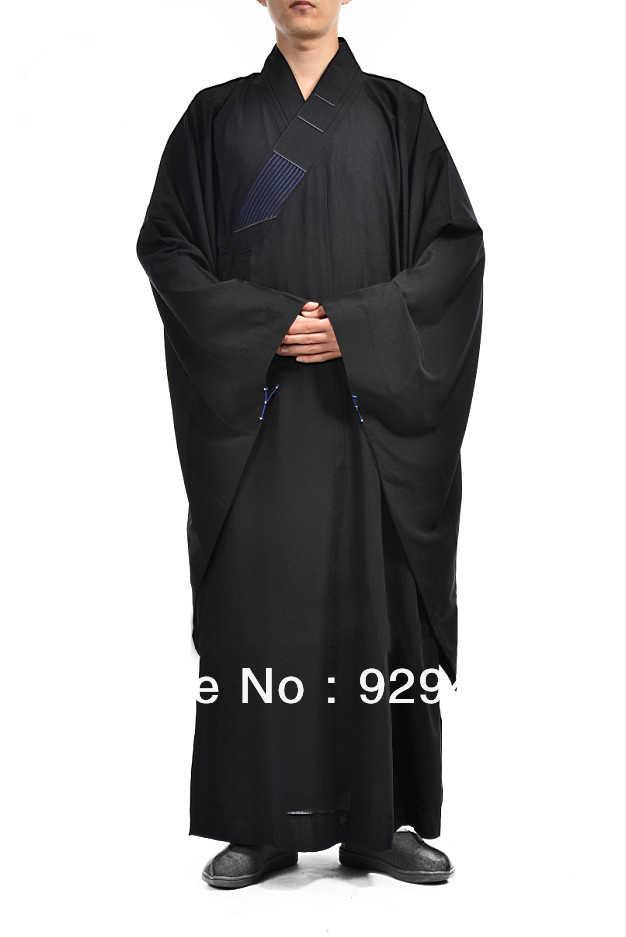 有名なブランド黒少林寺僧侶服仏教 layrobes 瞑想 gownHaiqing 武道制服快適な