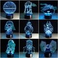 Várias Estrelas Guerras 3D LED luzes da noite Criativo Luz Ambiente Bulbificação Cor mudar Desk lamp Iluminação Para Casa Luminaria Presentes Dos Miúdos
