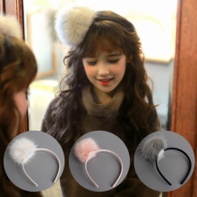 Korea Winter Hair Accessories lovely Wool Pearl Diamond Flower Crown  Headband Band Bow Princess 4