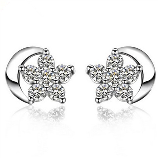 Personality Zircon Star Moon Earring Temperament Simple Korean Earrings Anti-Allergic Gift For Gril YP3640
