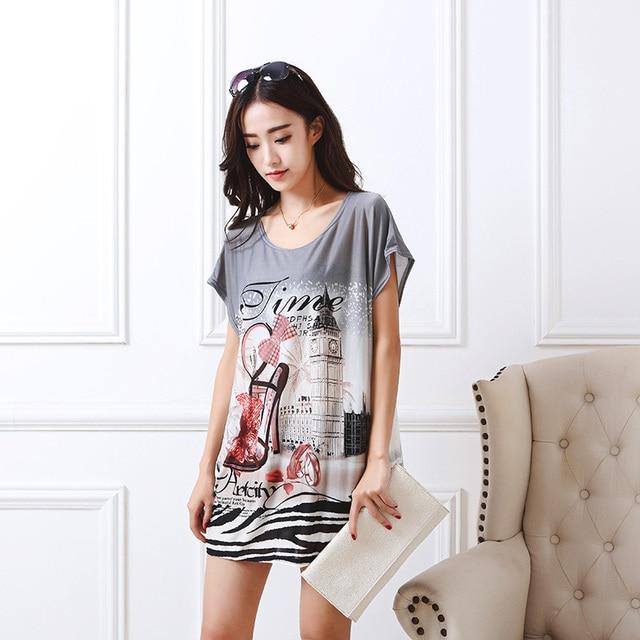 23d76375f73 2018 summer women casual print fashion short sleeve t shirt tops   tees  pullover loose fashion tunic plus size L-5XL