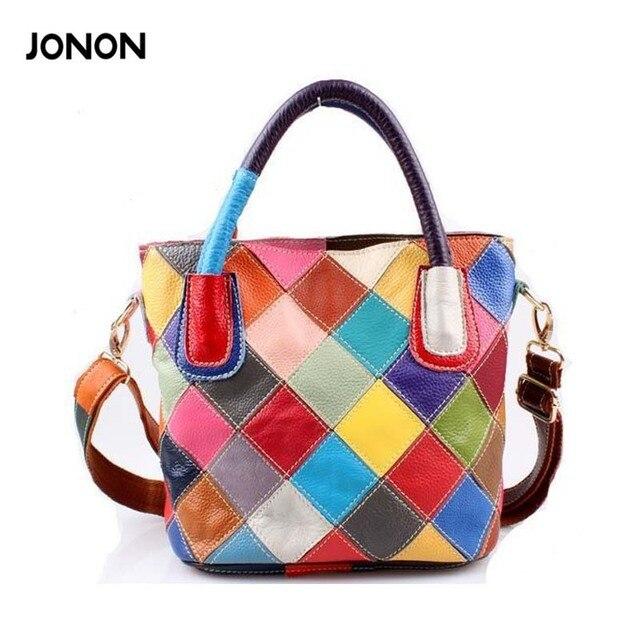 New 2017 100 Genuine Leather Patchwork Bag Cowhide Bucket Women Shoulder Colorful Handbags