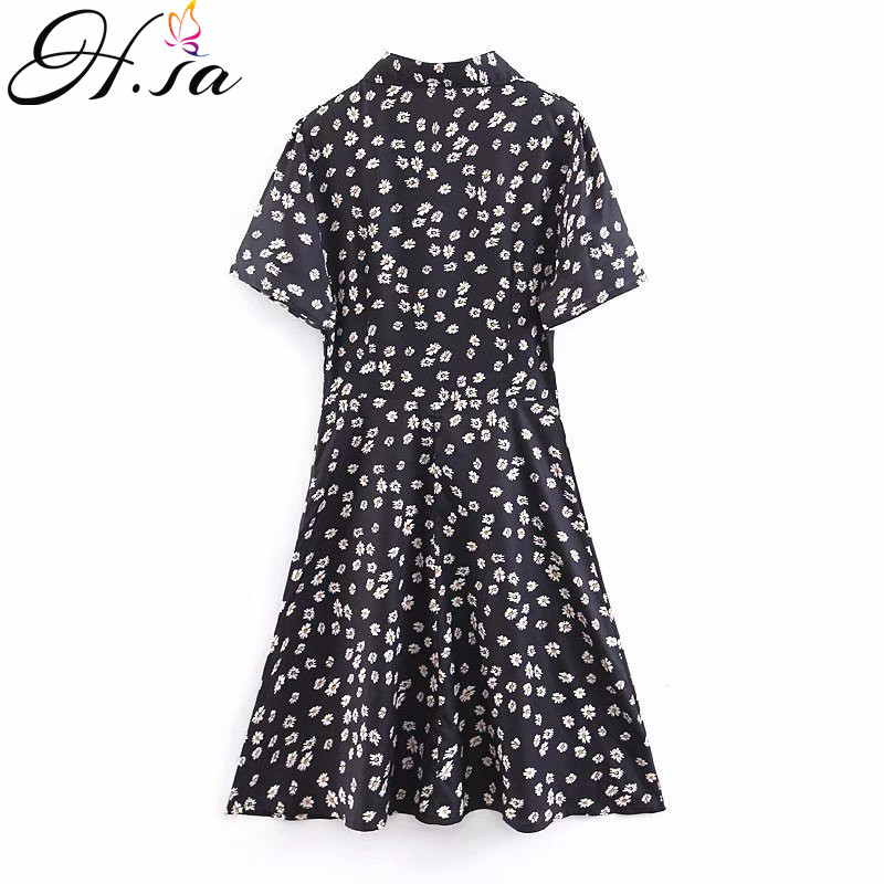 H.SA 2019 Boho Summer Dress Women Turn Down Collar Floral Print Black Dress Sundress Ladies Causal Beach Dresses Vestidos