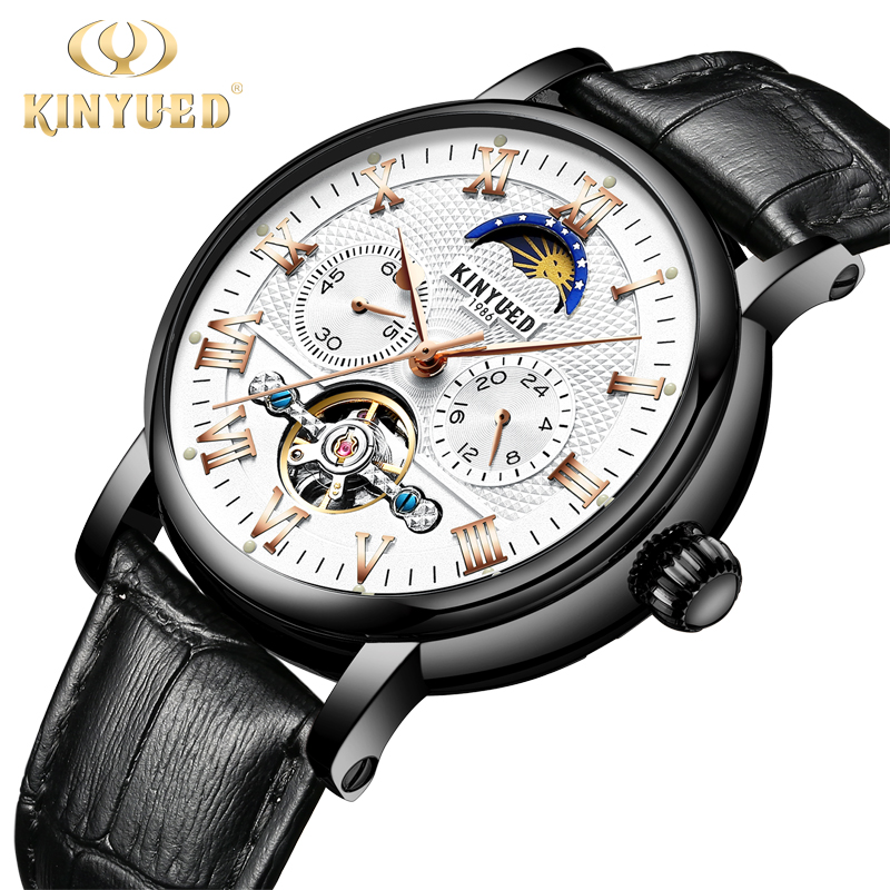 KINYUED Chronograph Mens Brand Automatic Mechanical Watches Leatehr Classic Fashion Skeleton Watch Men Moon Phase rkek kol saatiKINYUED Chronograph Mens Brand Automatic Mechanical Watches Leatehr Classic Fashion Skeleton Watch Men Moon Phase rkek kol saati