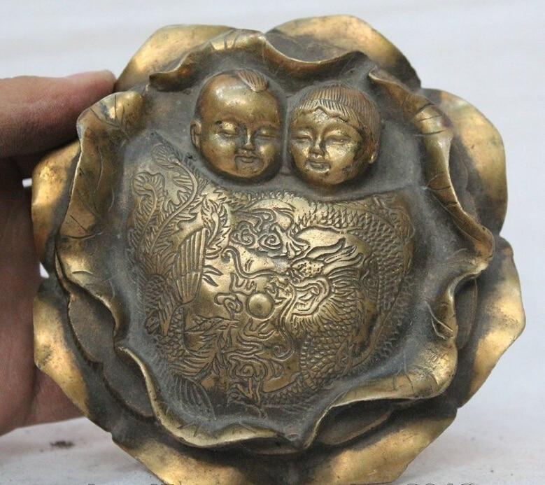 Old Chinese Dynasty Palace Bronze 2 Boy Dragon Phoenix Statue Lotus Inkstone R