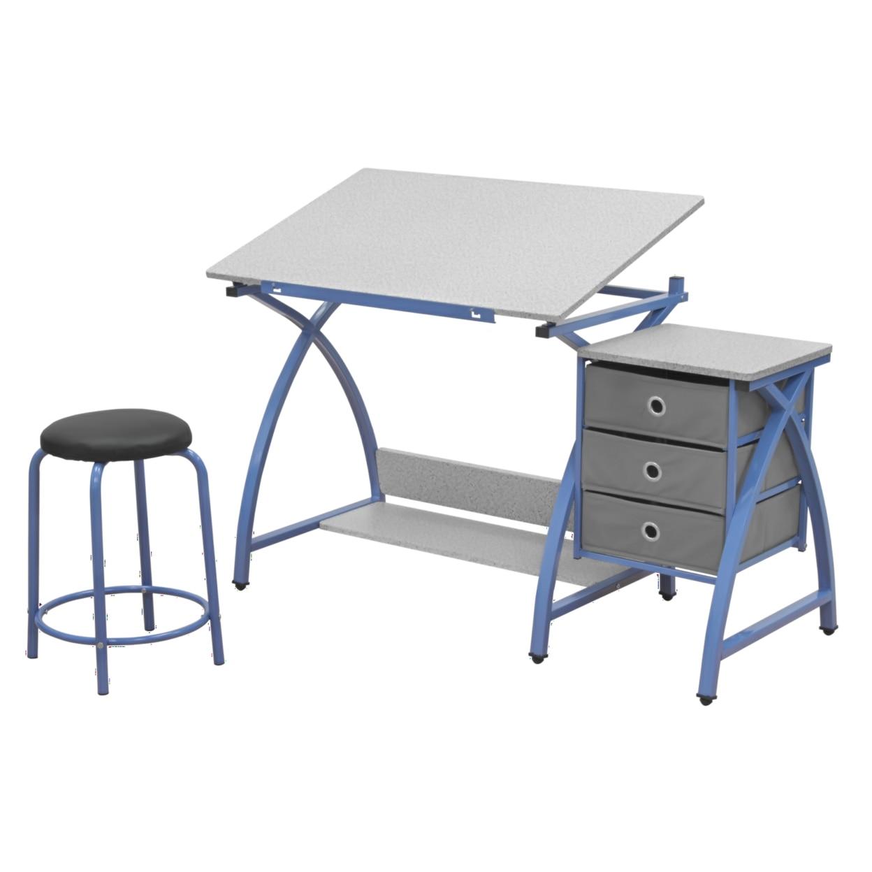 Studio Designs Home Office Comet Center with Stool - Blue/Spatter Gray игрушка ecx ruckus gray blue ecx00013t1