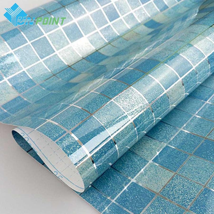 Dapur Stiker Minyak tahan Mosaik Stiker Dinding Aluminium Foil Wallpaper Perekat Diri Untuk Kamar Mandi Tahan Air