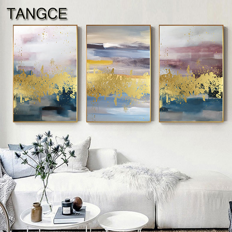 Abstract Foil Fog Painting Canvas Art Poster Print Gold Wall Art for Living Room Aisle Salon Abstractos Dorados Modern Tableau