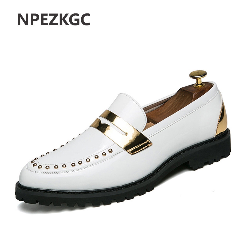 NPEZKGC men dress shoes leather luxury brand italian formal designer slip on work footwear male brogue oxford shoes for men