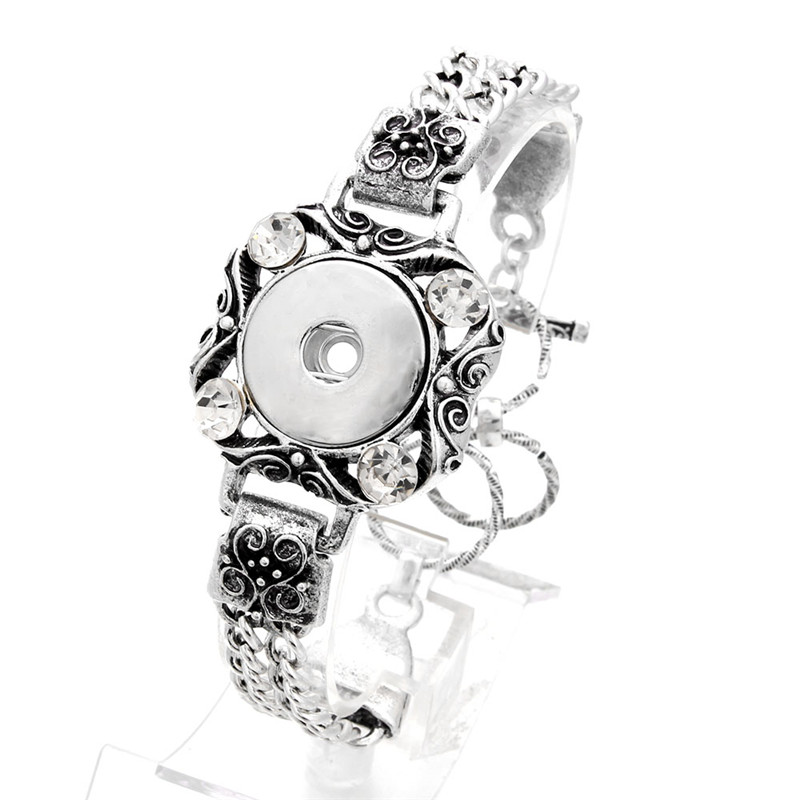 Snaps Jewelry Vintage Crystal Snap Bracelet Metal 18mm Snap Button Bracelet Bangles For Women DIY Accessories