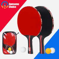 Qualidade 2 pçs/lote Bat Tênis De Mesa Raquete Dupla Face Espinhas Em Longo Cabo Curto Ping Pong Paddle Racket Set Com saco de Bolas de 3