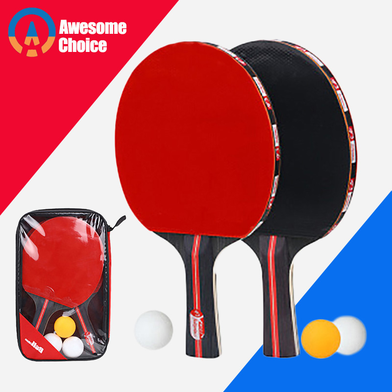 Quality 2pcs/lot Table Tennis Bat Racket Double Face Pimples In Long Short Handle Ping Pong Paddle Racket Set With Bag 3 Balls