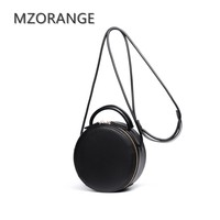 2017 Retro Genuine Leather Women Handbag Small Round Bag Fashion Lady Simple Shoulder Bag Cowhide Messenger