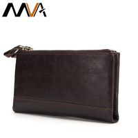 MVA Genuine Leather Wallets Mens Wallet Clutch Zipper Money Clip Wallets Leather Wallet Purse Bag with coin pocket Male Purse