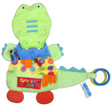 Soft Crocodile Cloth Books Reassure Blankie Appease Towel Sound Paper & Teether Education Quiet Book Baby Toys 0-12 Months C012