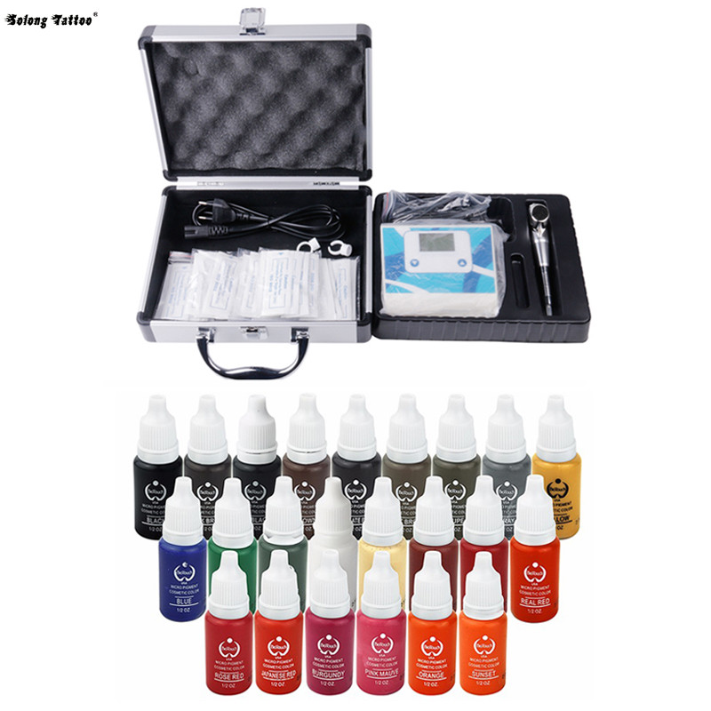 Solong Tattoo Eyebrow Kit Permanent Makeup Cosmetic Tattooing Supply Machine Power Needles Tip with Pigment Ink EK110-1 solong tattoo complete tattoo kit set including tattoo machine gun inks power supply needles permanent makeup for liner