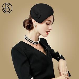 Image 3 - FS beyaz yün Fascinator şapka kadınlar için keçe pembe Pillbox şapkalar siyah bayanlar Vintage moda düğün Derby Fedora Chapeau Femme