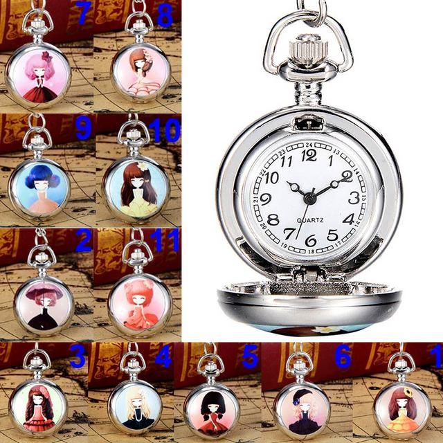 Fashion Cute Girl Picture Pocket Watch With Necklace Pendant Clock Chain Jewelry