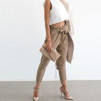 OL Chiffon High Waist Harem Pants Women Stringyselvedge Summer Style Casual Pants Female Black Trousers
