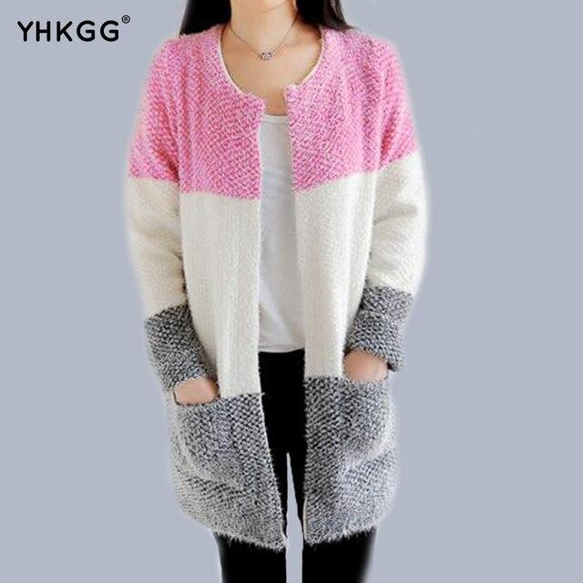 YHGGG 2016 Осень и Зима Новый Корейский Женский трехцветный Полосы Сшивание Свободные Трикотажные Свитера Кардигана Женщин
