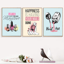 Nail Polish Quotes Salon Wall Art Canvas Painting Nordic Posters And Prints Wall Pictures For Living Room Girl Bedroom Decor(China)