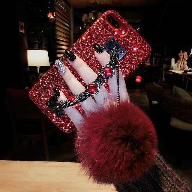 Luxury Crystal Diamond Bling Cases For Oppo F9 Crystal Hand Fur Ball  Glitter Hard PC Phone Cases For Oppo f9 Covers Hard Case 478a7a462c6f