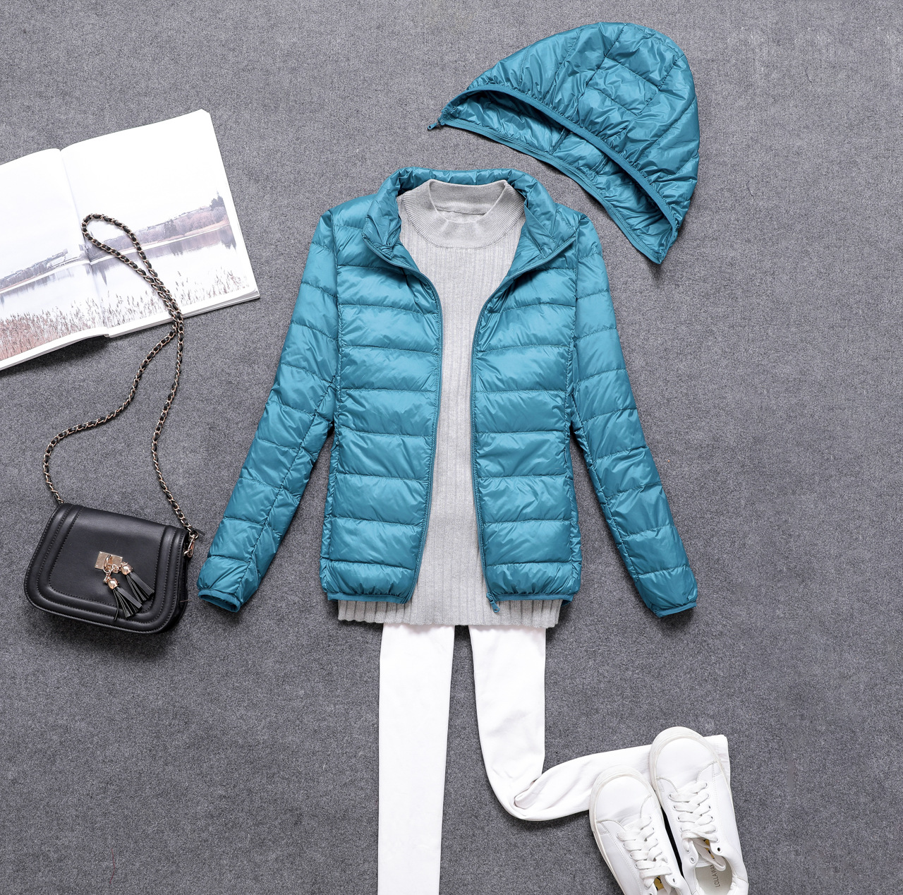 Women 90% Duck Down Ultra Light Down Jacket detachable Hat  Fashion Autumn Winter Warm Slim Zipper Jackets Women