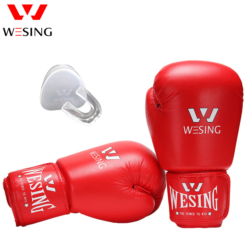 Wesing AIBA Boxing Gloves for Professional Athletes with Mouth Guard Protection Unisex Boxing Gloves for Training Competition wesing aiba approved boxing gloves 12oz competition mma training muay thai kickboxing sanda boxer gloves red blue