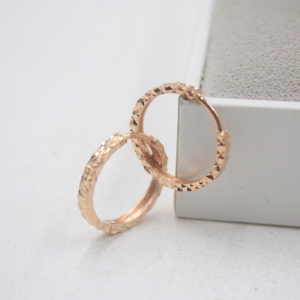 Pur 18 K or Rose sculpté petites boucles d'oreilles personnalisé balle cadeau mignon boucles d'oreilles cerceau 1.8-2.0g bijoux de tous les jours brillant - 3