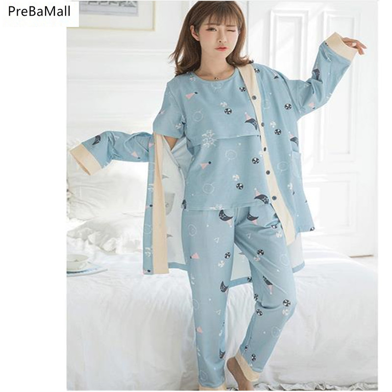 Free Shipping Maternity Nursing Clothes Cotton Long Sleeve Sleepwear Breastfeeding Pajamas 3pcs/Set for Pregnant Women B0519 цена