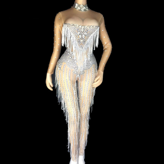 Sparkly Crystals Tassel Jumpsuits Female Sexy Nightclub Stones Neck Costume Women Birthday Celebrate Dress Rhinestone Bodysuit