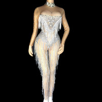 Sparkly Crystals Tassel Jumpsuits Female Sexy Nightclub Stones Neck Costume Women Birthday Celebrate Dress Rhinestone Bodysuit