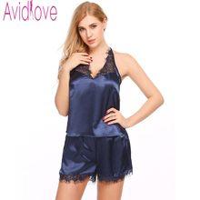 b2d2a669643 Avidlove Sexy Satin Pajama Set Lace Sleepwear Women Tank Top Shorts Pyjama  Suit Nightwear Casual Homewear