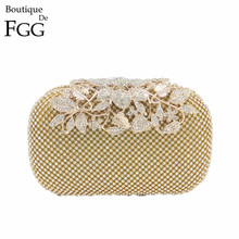 Famous Brand Women s Fashion Metal Flower Clasp Crystal Clutch Evening Bags Wedding Party Cocktail Shoulder